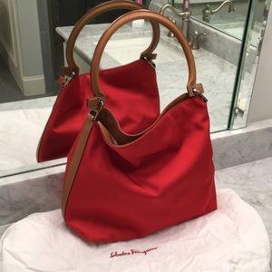 Salvatore Ferragamo red bucket bag